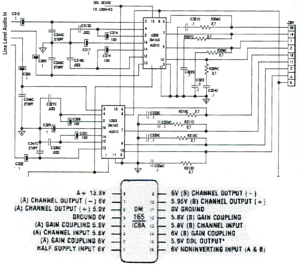 DelcoGMDM165RadioRepairTypicalSch 03 12 delco gm radio dm165 audio amp repair ac delco radio wiring diagram at n-0.co