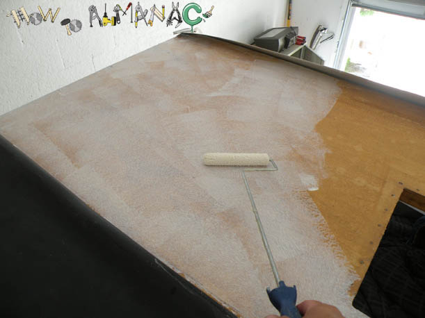 Amazing Apply   Using A Paint Roller, Apply The Dicor 901BA Rubber Roof Adhesive To  The Black Underside Of The Rubber Roof, And The Plywood.